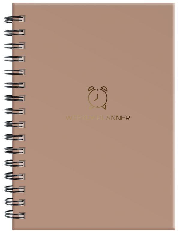Блокнот-планер на пружине (коричневый). А5, твердый переплет, фольга, недатированный, 128 стр. блокнот like crazy cat baby а5 64 стр