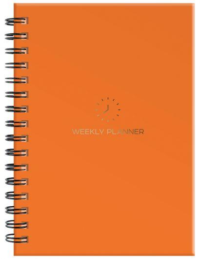 Блокнот-планер на пружине (оранжевый). А5, твердый переплет, фольга, недатированный, 128 стр. - фото 1