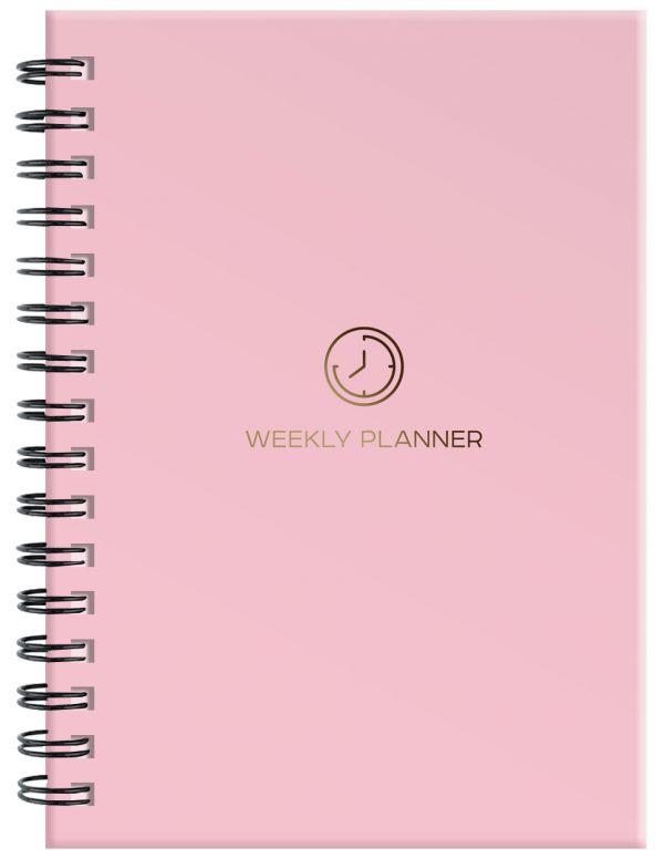 Блокнот-планер на пружине (розовый). А5, твердый переплет, фольга, недатированный, 128 стр. стоимость
