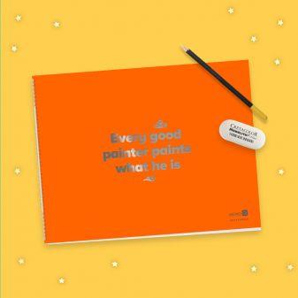 Скетчбук оранжевый (230х180 мм, офсет 160 гр., 40 страниц, евроспираль)