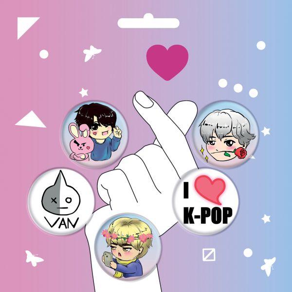 Набор значков. K-POP (5 шт.) (оф.1) валентинов андрей печать на сердце твоем