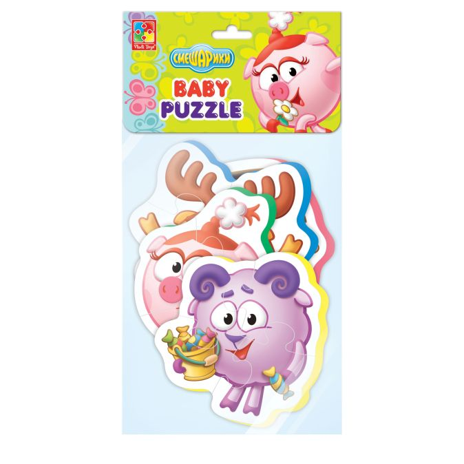 """Мягкие пазлы Baby puzzle Смешарики """"Нюша, Кар Карыч, Лосяш, бараш"""""""