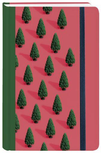 """Блокнот с резинкой """"Ёлки"""" (красный). А5, твердый переплет, 192 стр."""
