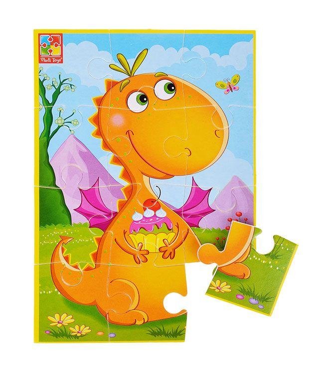 """Мягкие пазлы  А5 """"Динозавр с пирожным"""""""