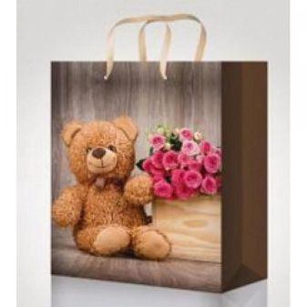 Пакет подарочный с глянцевой ламинацией 18х23х10 см (M) Мишка с цветами, 157 г ПП-9065