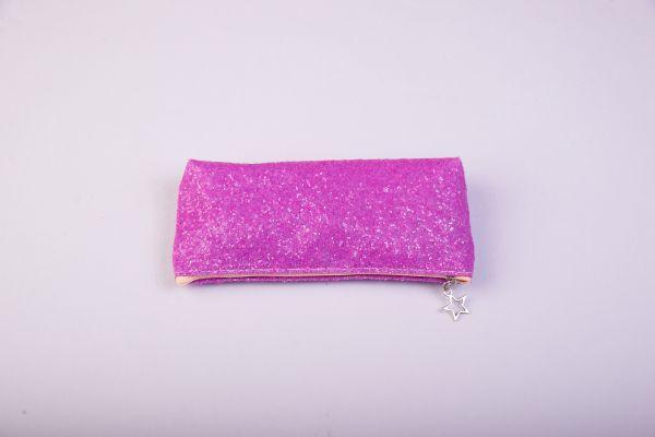 Пенал-косметичка (с блестками, на молнии, розовый)