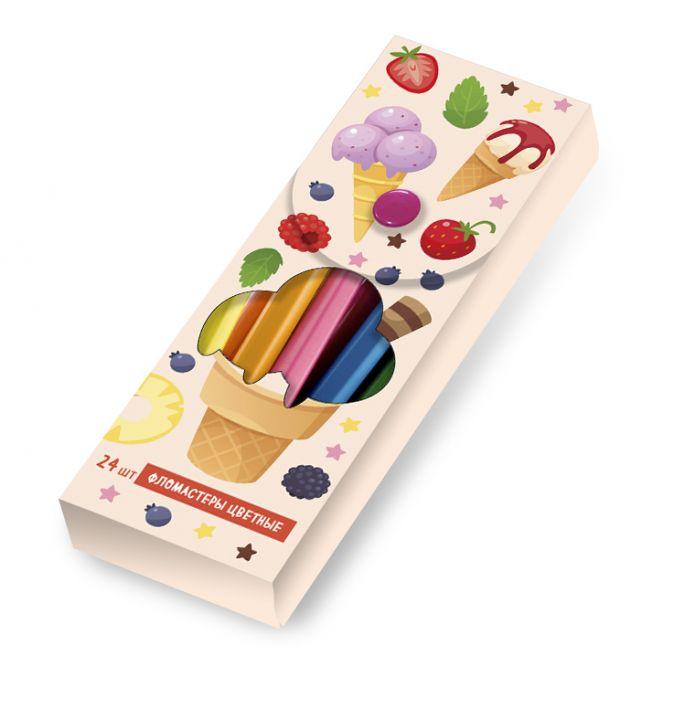 Рожок мороженого. Пластиковый пенал с фломастерами (24шт)