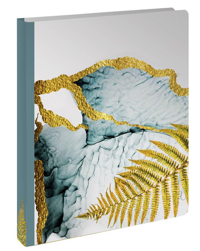 Золотой папоротник. Блок с кольцами, А5, 96 л., с разделителями, зол. фольга