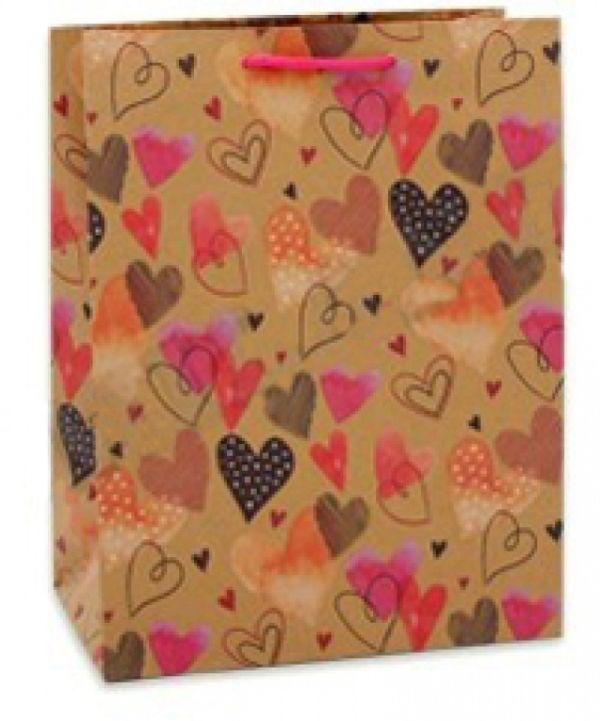 Пакет подарочный из крафт бумаги 26,4х32,7х13,6 см (L) Цветные сердца, 150 г ПГ-1741