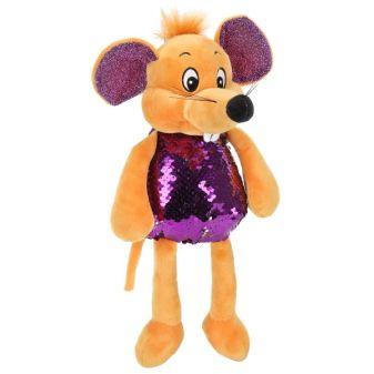 Игрушка мягкая Мышка фиолетовая блестяшка