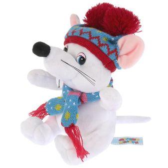 Игрушка мягкая Мышка белая в шапке с двумя помпонами