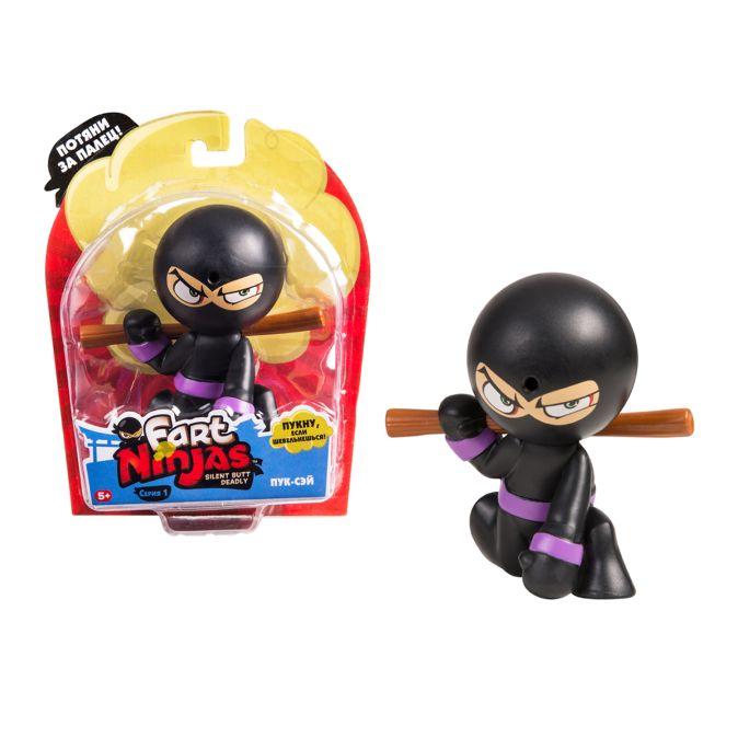 """Фарт Ниндзя.Игрушка """"Пукающий"""" Ниндзя черн. с шестом.TM Fart Ninjas"""