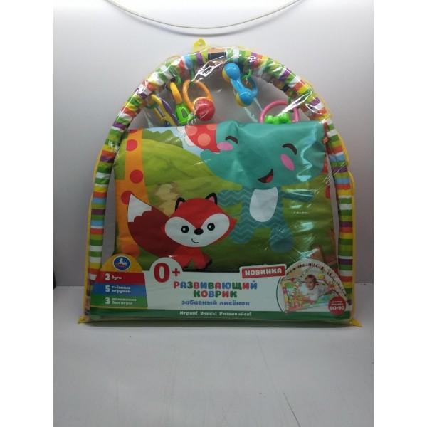 """Детский игровой коврик забавный лисенок с игрушками на подвеске в пак. """"Умка"""" в кор.18шт"""