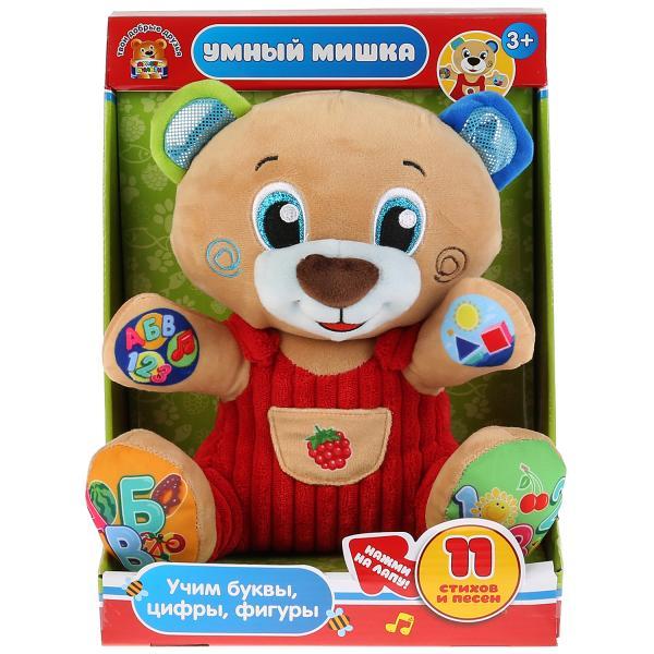 """Игрушка мягкая функц. """"медведь учим цифры, буквы, формы"""" 25см, муз. чип в кор Мульти-пульти в кор6шт"""