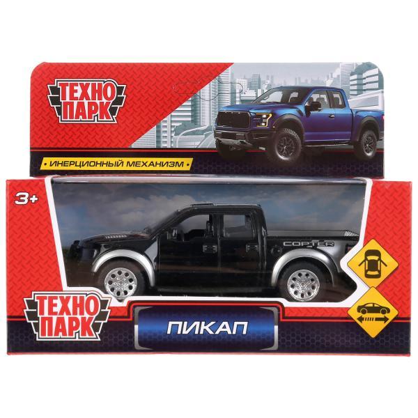 """Машина металл """"ПИКАП"""" 12,5см, инерц, открыв.  двери, подвеска, черный в кор.Технопарк в кор.2*36шт"""