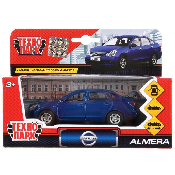 Машина металл Nissan Almera 12см, открыв. двери, инерц., синий в кор. Технопарк в кор.2*24шт