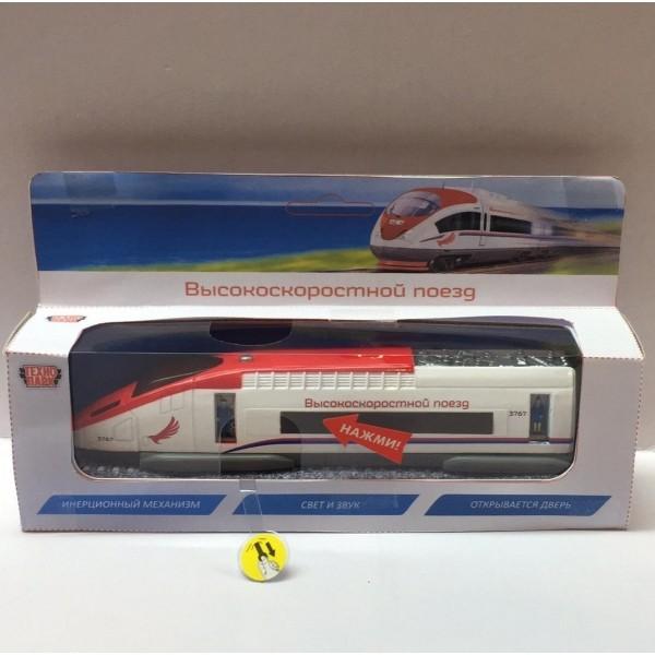Машина металл Поезд скоростной 18,5см, свет+звук,инерц., открыв. двери в кор. Технопарк в кор.2*24шт