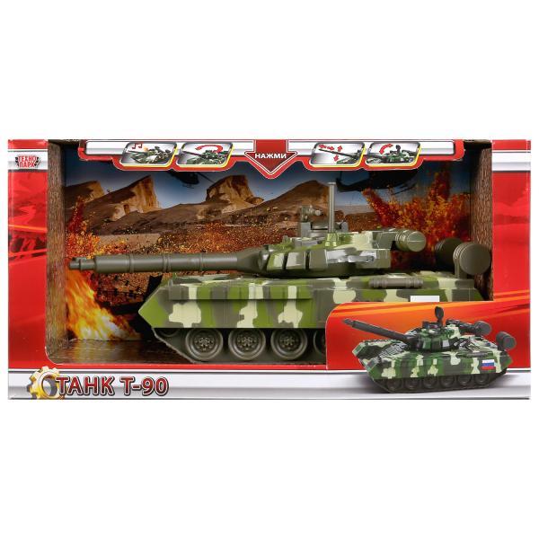Машина свет+звук танк Т-90, размер 25см, вращ. башня, открыв. люк в кор. Технопарк в кор.2*12шт