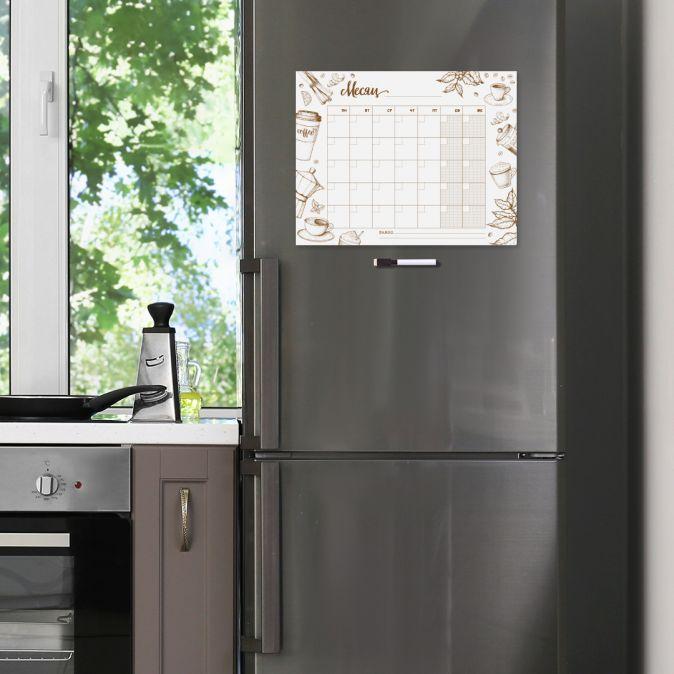 Время для кофе. Магнитный планер на холодильник (33х42, маркер с губкой на магните)