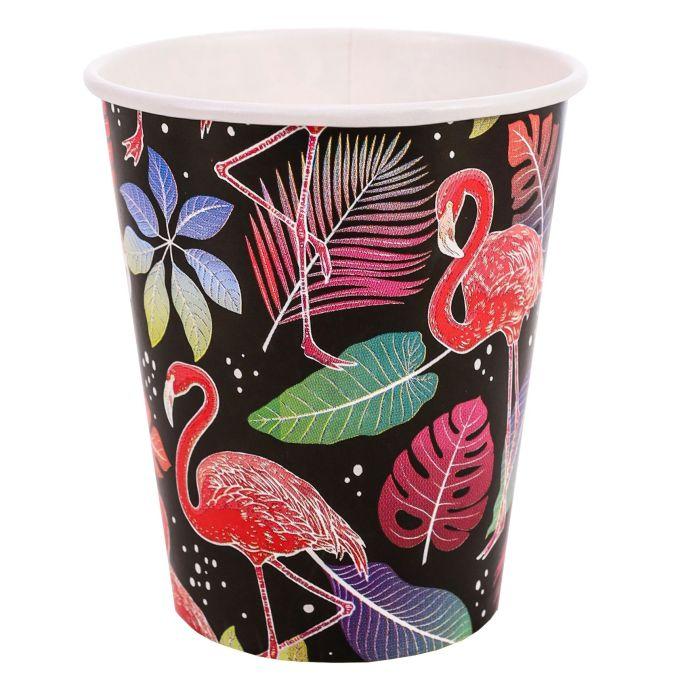 Стаканы бумажные Фламинго на черном (250 мл, 6 шт) флоупак ФЛ-7485