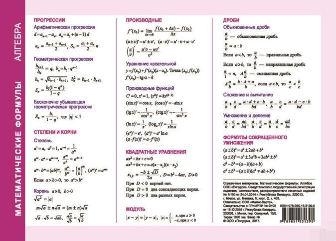 Справочные материалы: Математические формулы. Алгебра